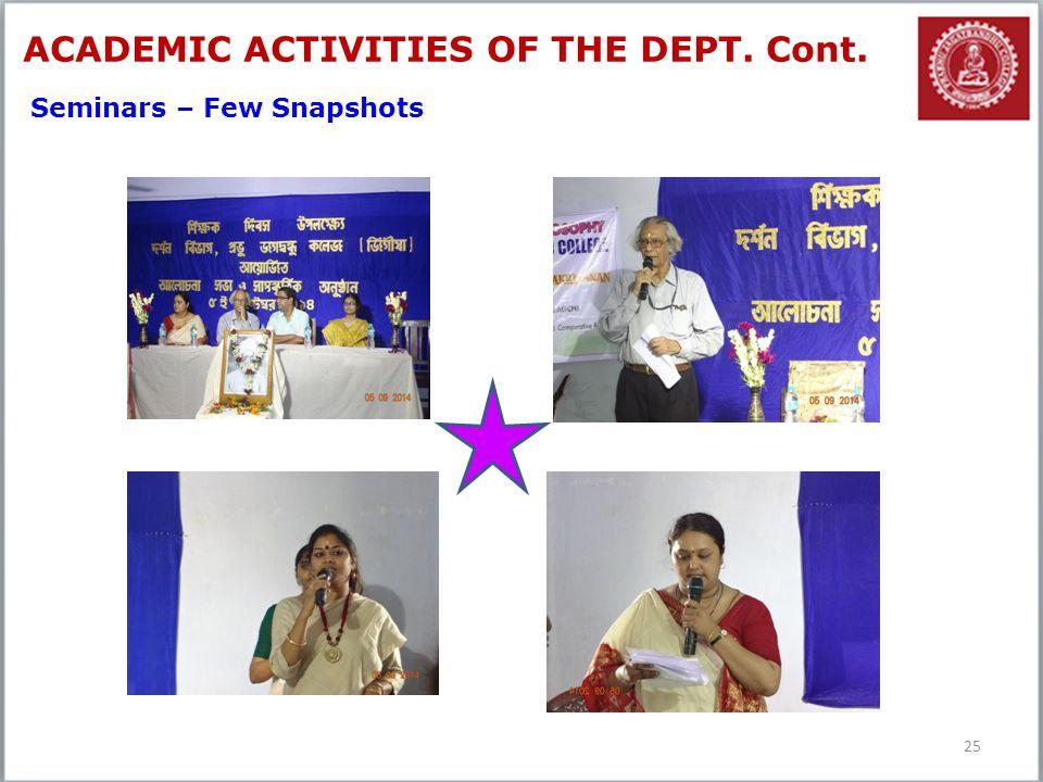25 ACADEMIC ACTIVITIES OF THE DEPT. Cont. Seminars – Few Snapshots