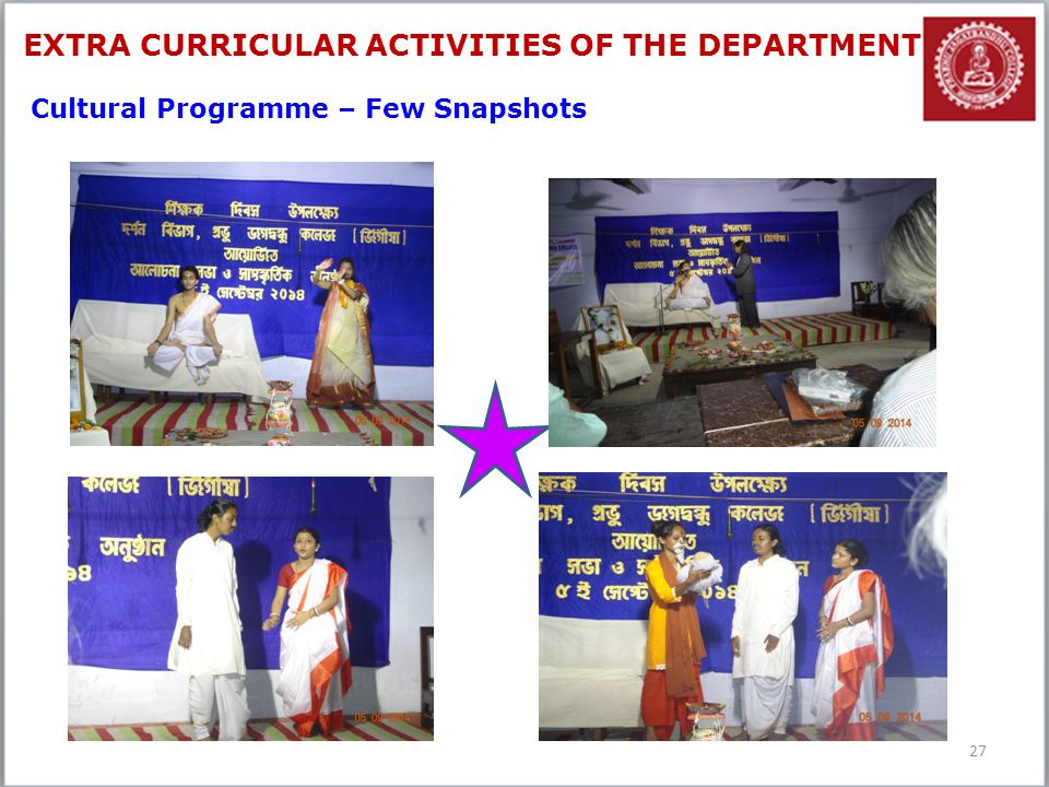 27 Cultural Programme – Few Snapshots EXTRA CURRICULAR ACTIVITIES OF THE DEPARTMENT