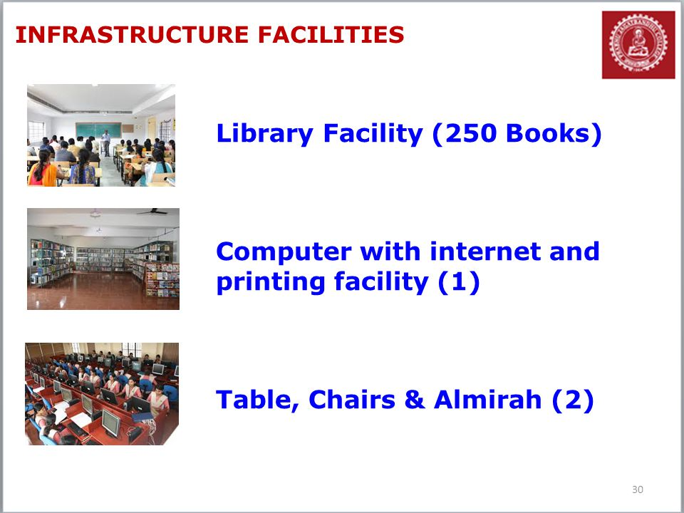 30 INFRASTRUCTURE FACILITIES Library Facility (250 Books) Computer with internet and printing facility (1) Table, Chairs & Almirah (2)