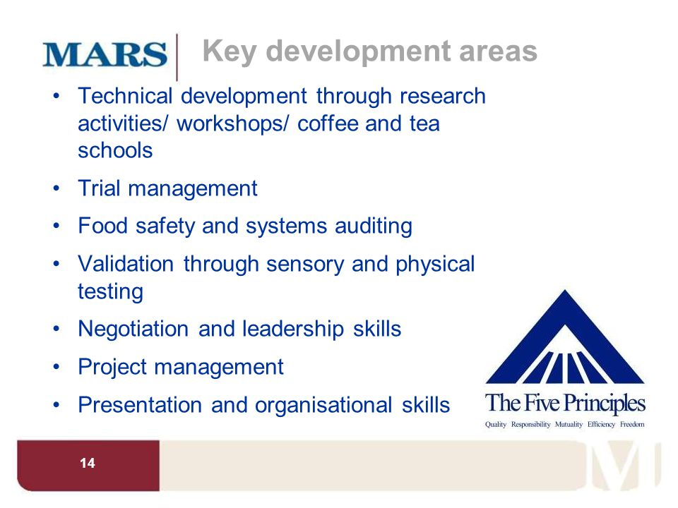 14 Key development areas Technical development through research activities/ workshops/ coffee and tea schools Trial management Food safety and systems