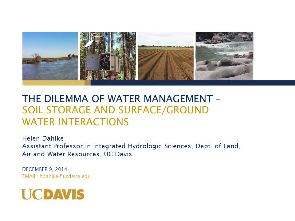 THE DILEMMA OF WATER MANAGEMENT Alfalfa flooding tolerance study – UC Davis Farm Test 2 different water application durations at 3 different times during winter season (3 x 2 + 1 control) Measure plant parameters: initial stand density, vigor, stem count, yield Measure physical parameters: Soil moisture, soil, air, water temperature, redox potential, control volume 470 ft 70 ft 7 treatments