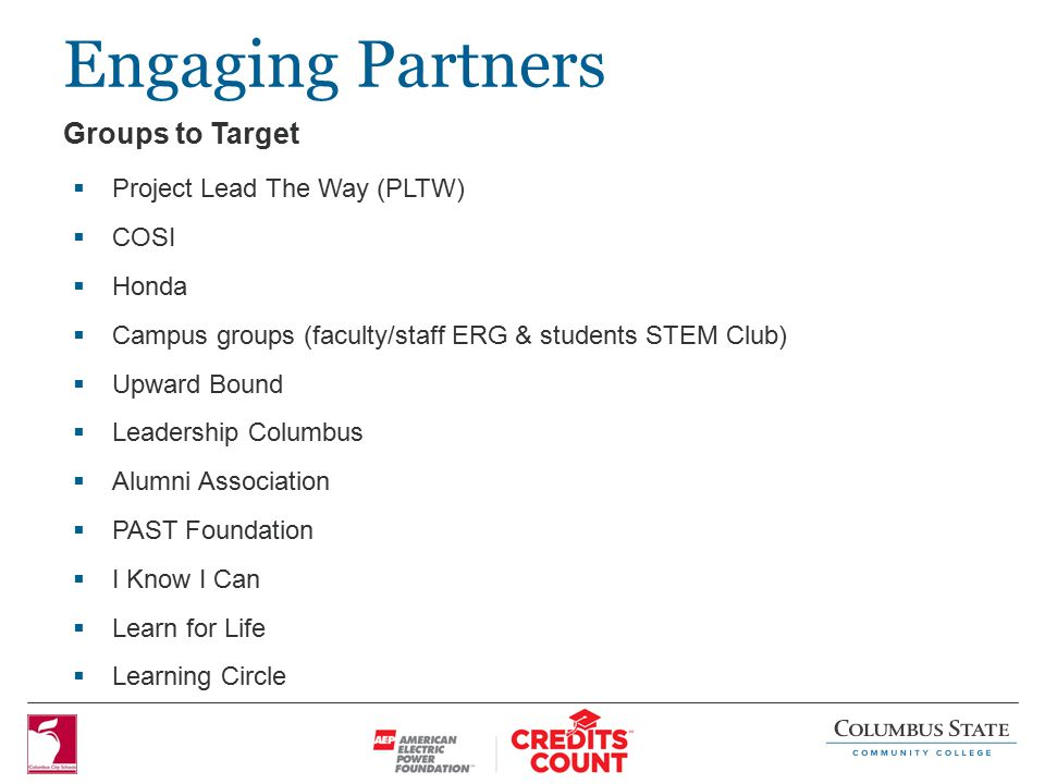 Engaging Partners  Project Lead The Way (PLTW)  COSI  Honda  Campus groups (faculty/staff ERG & students STEM Club)  Upward Bound  Leadership Columbus  Alumni Association  PAST Foundation  I Know I Can  Learn for Life  Learning Circle Groups to Target