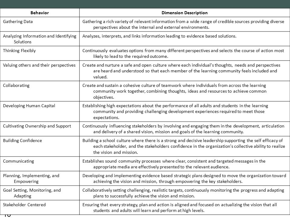 16 BehaviorDimension Description Gathering DataGathering a rich variety of relevant information from a wide range of credible sources providing diverse perspectives about the internal and external environments.