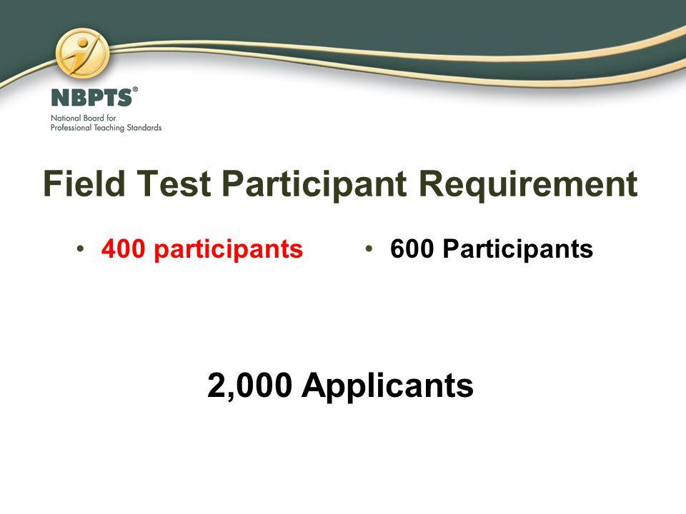 Field Test Participant Requirement 400 participants600 Participants 2,000 Applicants