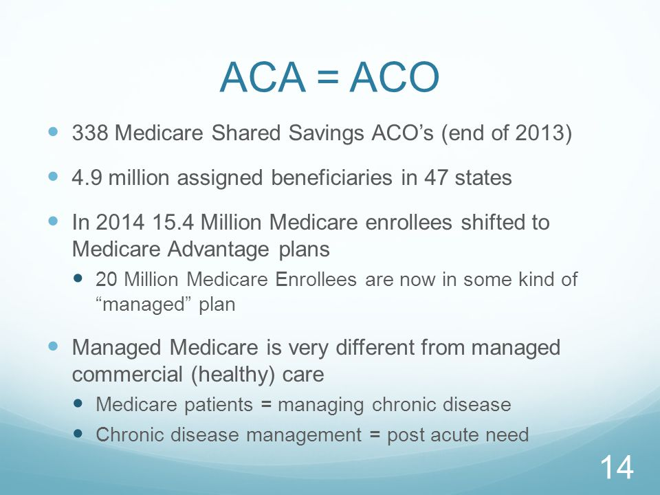 ACA = ACO 338 Medicare Shared Savings ACO's (end of 2013) 4.9 million assigned beneficiaries in 47 states In 2014 15.4 Million Medicare enrollees shifted to Medicare Advantage plans 20 Million Medicare Enrollees are now in some kind of managed plan Managed Medicare is very different from managed commercial (healthy) care Medicare patients = managing chronic disease Chronic disease management = post acute need 14