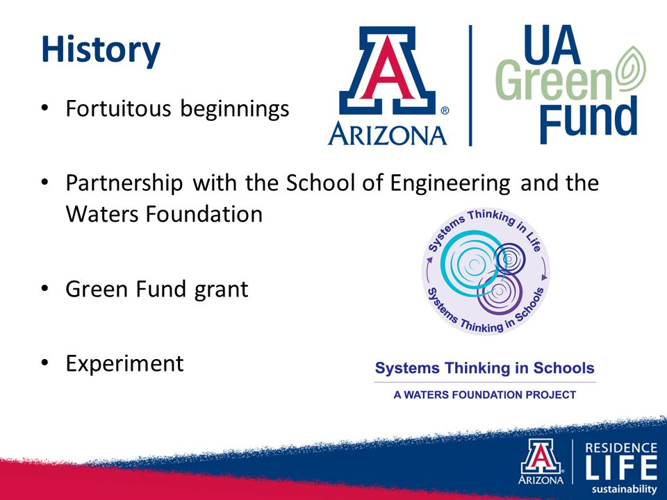 History Fortuitous beginnings Partnership with the School of Engineering and the Waters Foundation Green Fund grant Experiment