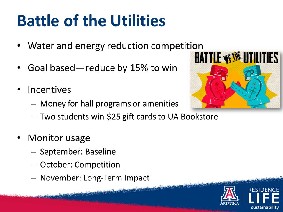 Battle of the Utilities Water and energy reduction competition Goal based—reduce by 15% to win Incentives – Money for hall programs or amenities – Two
