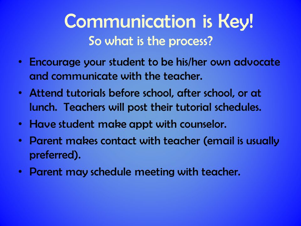 Communication is Key. So what is the process.