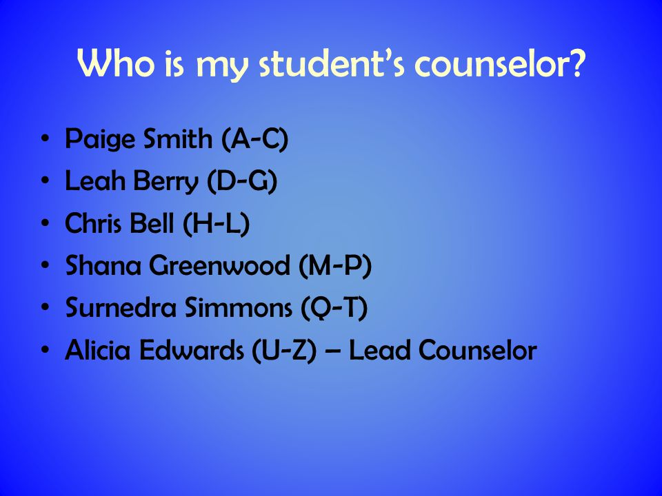 Who is my student's counselor.