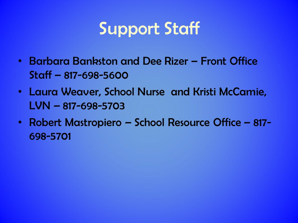 Please communicate with Nurse Weaver about any health concerns or issues.