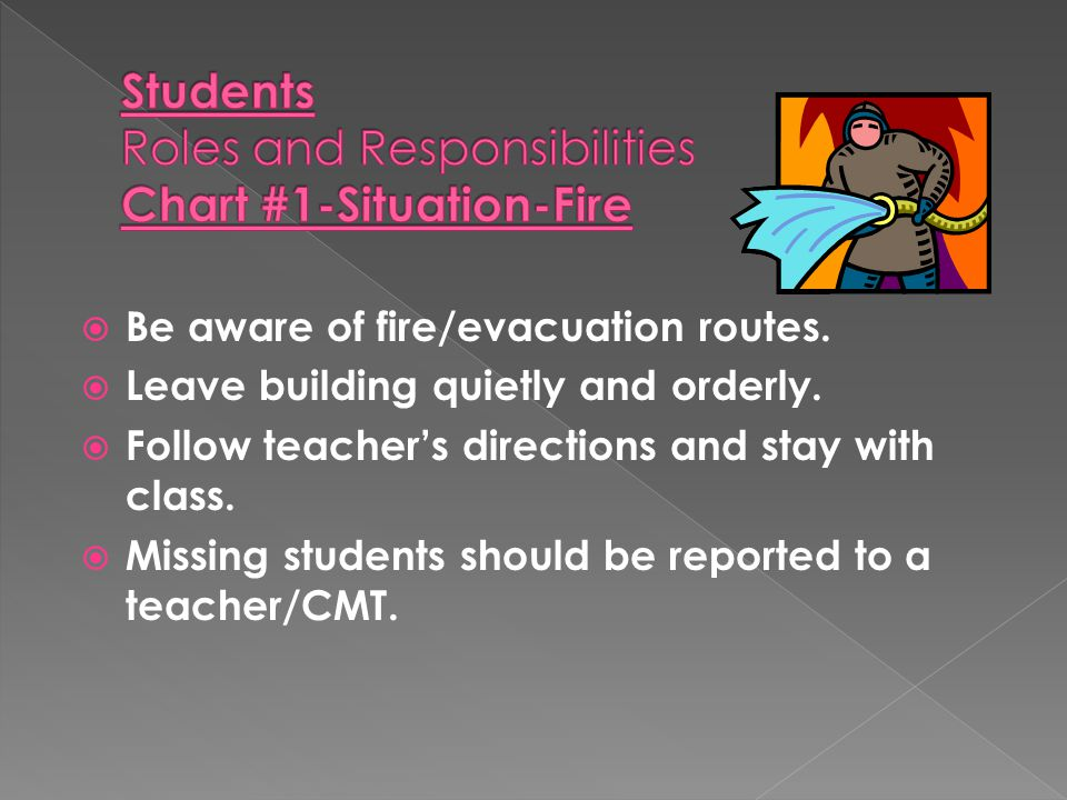 Be aware of fire/evacuation routes.  Leave building quietly and orderly.