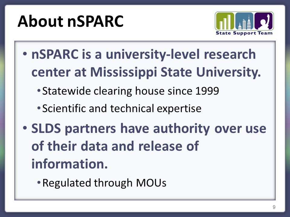 nSPARC is a university-level research center at Mississippi State University. Statewide clearing house since 1999 Scientific and technical expertise S