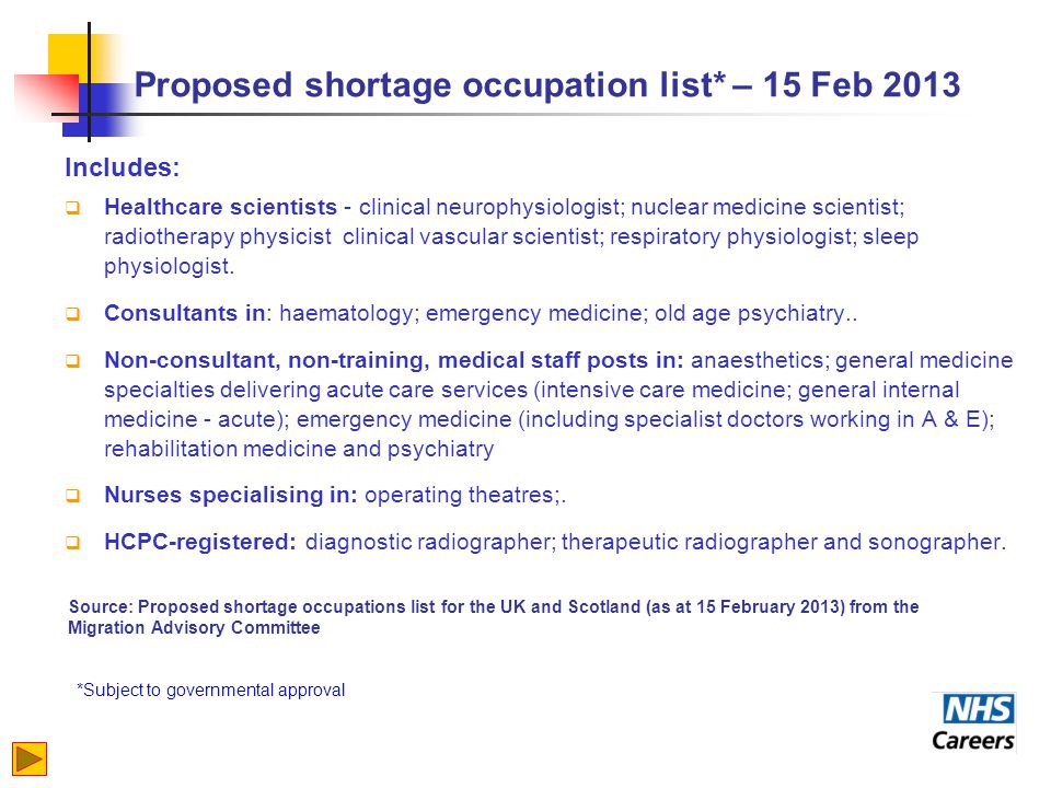 Proposed shortage occupation list* – 15 Feb 2013 Includes:  Healthcare scientists - clinical neurophysiologist; nuclear medicine scientist; radiotherapy physicist clinical vascular scientist; respiratory physiologist; sleep physiologist.