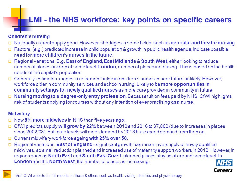 LMI - the NHS workforce: key points on specific careers Visit CfWI website for full reports on these & others such as health visiting, dietetics and physiotherapy Children s nursing  Nationally current supply good.