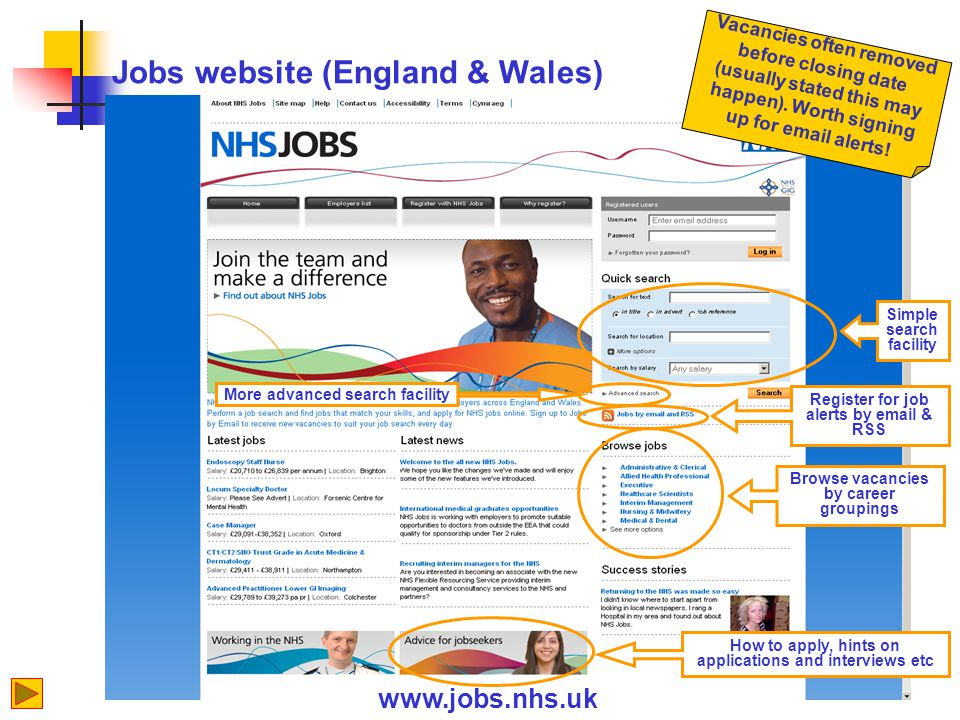 Jobs website (England & Wales) www.jobs.nhs.uk Simple search facility Register for job alerts by email & RSS More advanced search facility How to apply, hints on applications and interviews etc Browse vacancies by career groupings Vacancies often removed before closing date (usually stated this may happen).