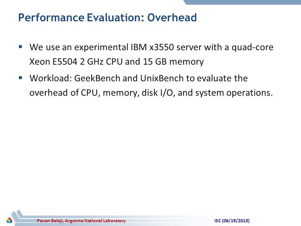 Pavan Balaji, Argonne National Laboratory Performance Evaluation: Overhead  We use an experimental IBM x3550 server with a quad-core Xeon E5504 2 GHz