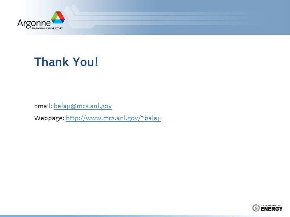 Thank You! Email: balaji@mcs.anl.govbalaji@mcs.anl.gov Webpage: http://www.mcs.anl.gov/~balajihttp://www.mcs.anl.gov/~balaji