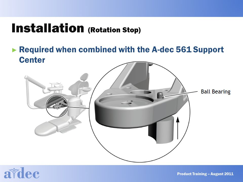 Installation (Rotation Stop) ► Required when combined with the A-dec 561 Support Center Product Training – August 2011