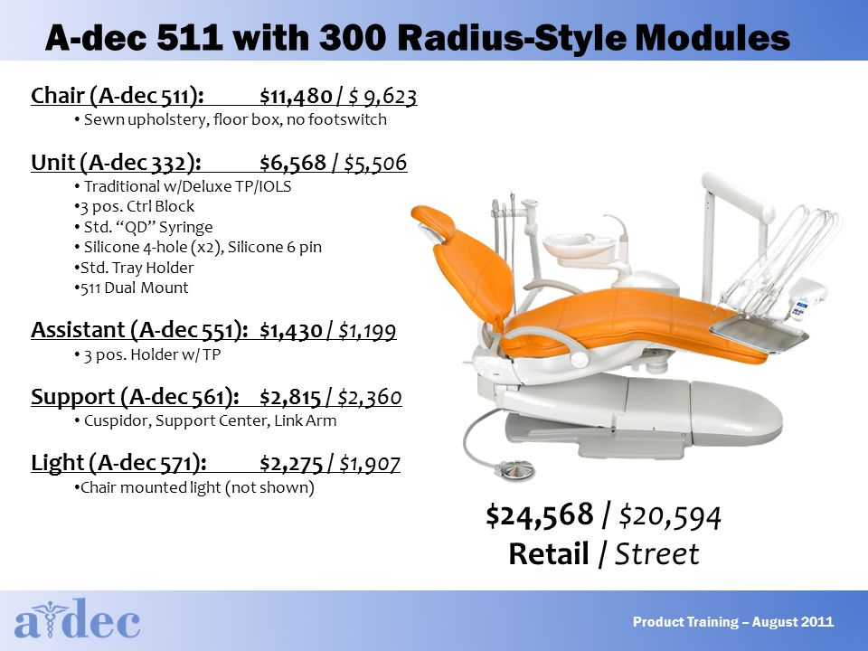 A-dec 511 with 300 Radius-Style Modules $24,568 / $20,594 Retail / Street Chair (A-dec 511):$11,480 / $ 9,623 Sewn upholstery, floor box, no footswitch Unit (A-dec 332):$6,568 / $5,506 Traditional w/Deluxe TP/IOLS 3 pos.