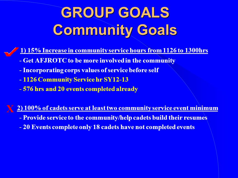 GROUP GOALS Community Goals 1) 15% Increase in community service hours from 1126 to 1300hrs - Get AFJROTC to be more involved in the community - Incorporating corps values of service before self - 1126 Community Service hr SY12-13 - 576 hrs and 20 events completed already 2) 100% of cadets serve at least two community service event minimum - Provide service to the community/help cadets build their resumes - 20 Events complete only 18 cadets have not completed events X