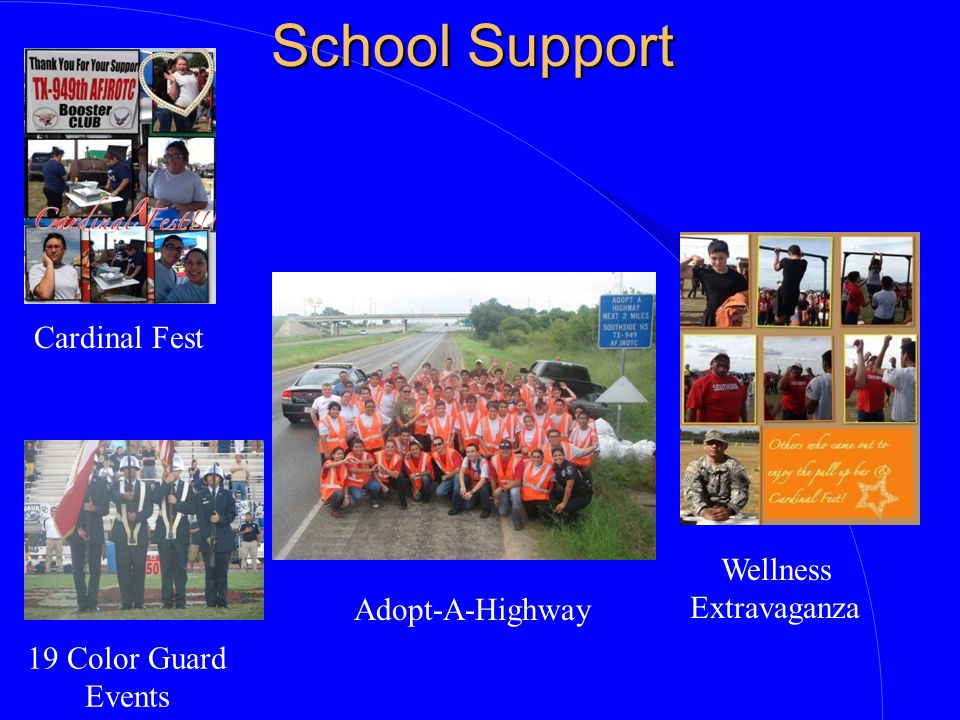 School Support Adopt-A-Highway Wellness Extravaganza Cardinal Fest 19 Color Guard Events