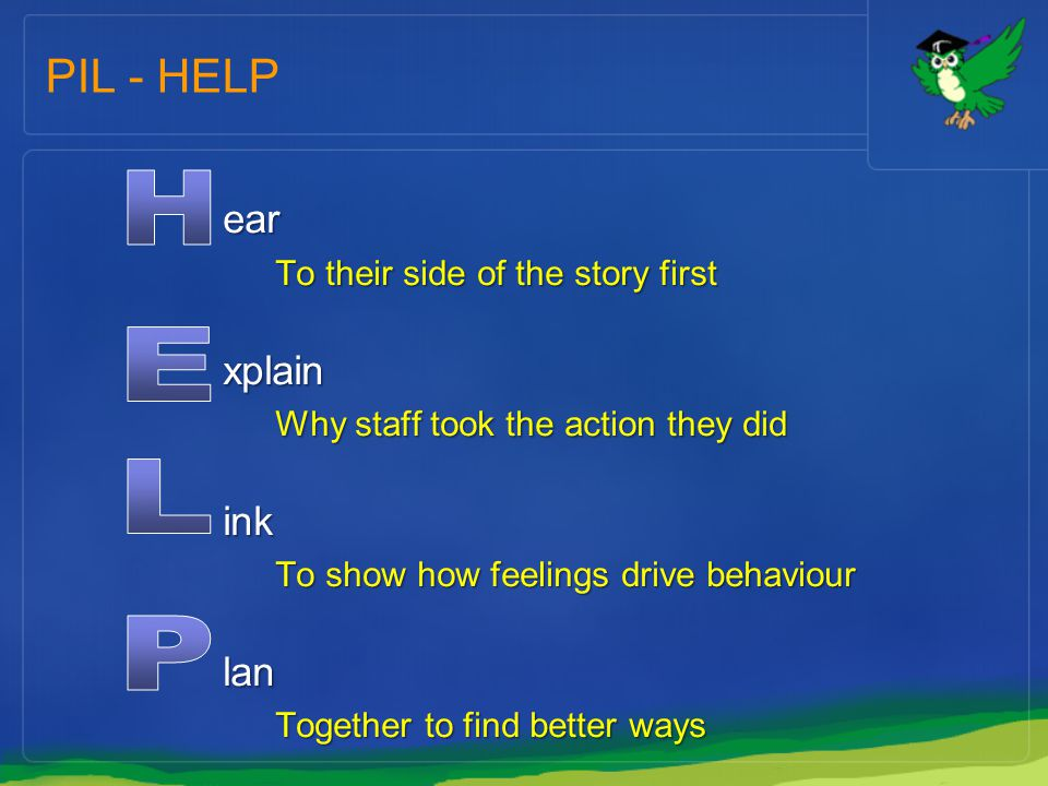 PIL - HELP ear To their side of the story first xplain Why staff took the action they did ink To show how feelings drive behaviour lan Together to fin