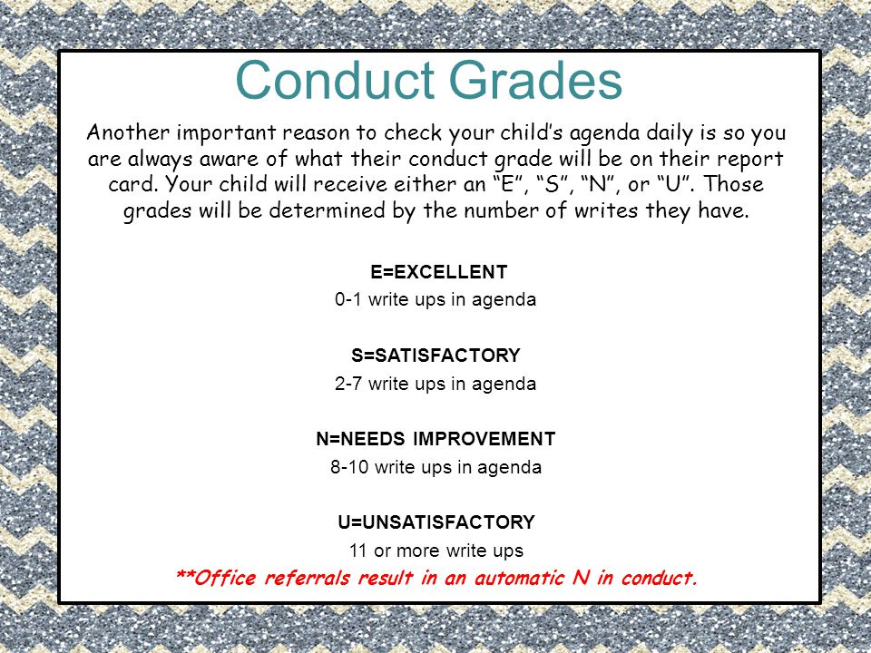 Conduct Grades Another important reason to check your child's agenda daily is so you are always aware of what their conduct grade will be on their rep