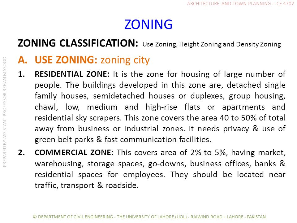 ZONING ZONING CLASSIFICATION: Use Zoning, Height Zoning and Density Zoning A.USE ZONING: zoning city 1.RESIDENTIAL ZONE: It is the zone for housing of