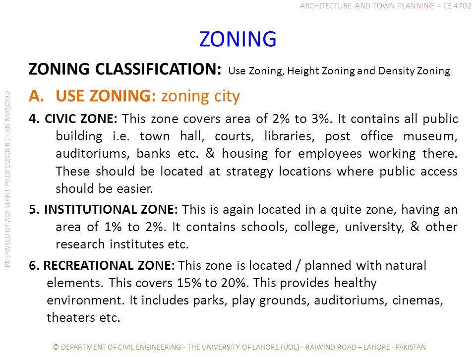 ZONING ZONING CLASSIFICATION: Use Zoning, Height Zoning and Density Zoning A.USE ZONING: zoning city 4.