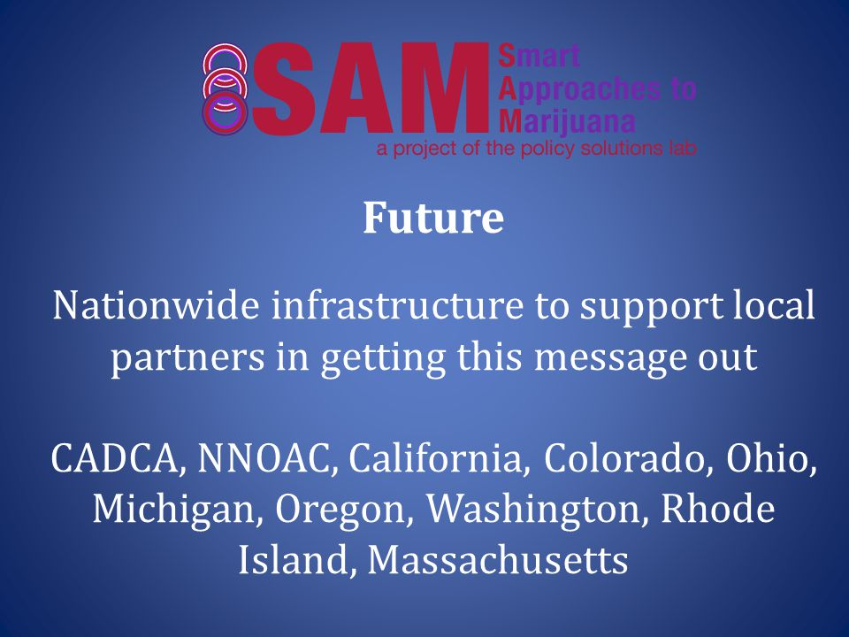 Future Nationwide infrastructure to support local partners in getting this message out CADCA, NNOAC, California, Colorado, Ohio, Michigan, Oregon, Washington, Rhode Island, Massachusetts