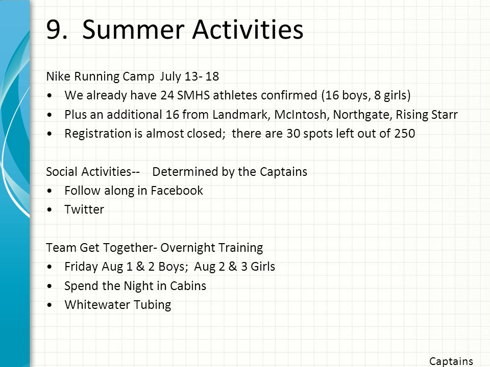 9. Summer Activities Nike Running Camp July 13- 18 We already have 24 SMHS athletes confirmed (16 boys, 8 girls) Plus an additional 16 from Landmark,