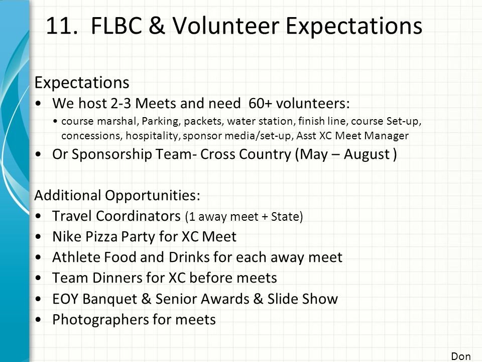 11. FLBC & Volunteer Expectations Don Expectations We host 2-3 Meets and need 60+ volunteers: course marshal, Parking, packets, water station, finish