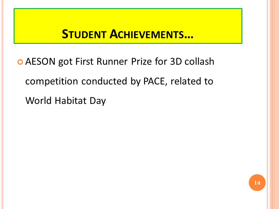 AESON got First Runner Prize for 3D collash competition conducted by PACE, related to World Habitat Day 14 S TUDENT A CHIEVEMENTS …