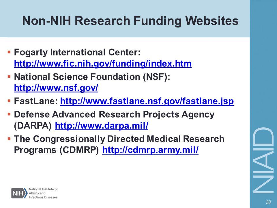 Non-NIH Research Funding Websites  Fogarty International Center: http://www.fic.nih.gov/funding/index.htm http://www.fic.nih.gov/funding/index.htm 