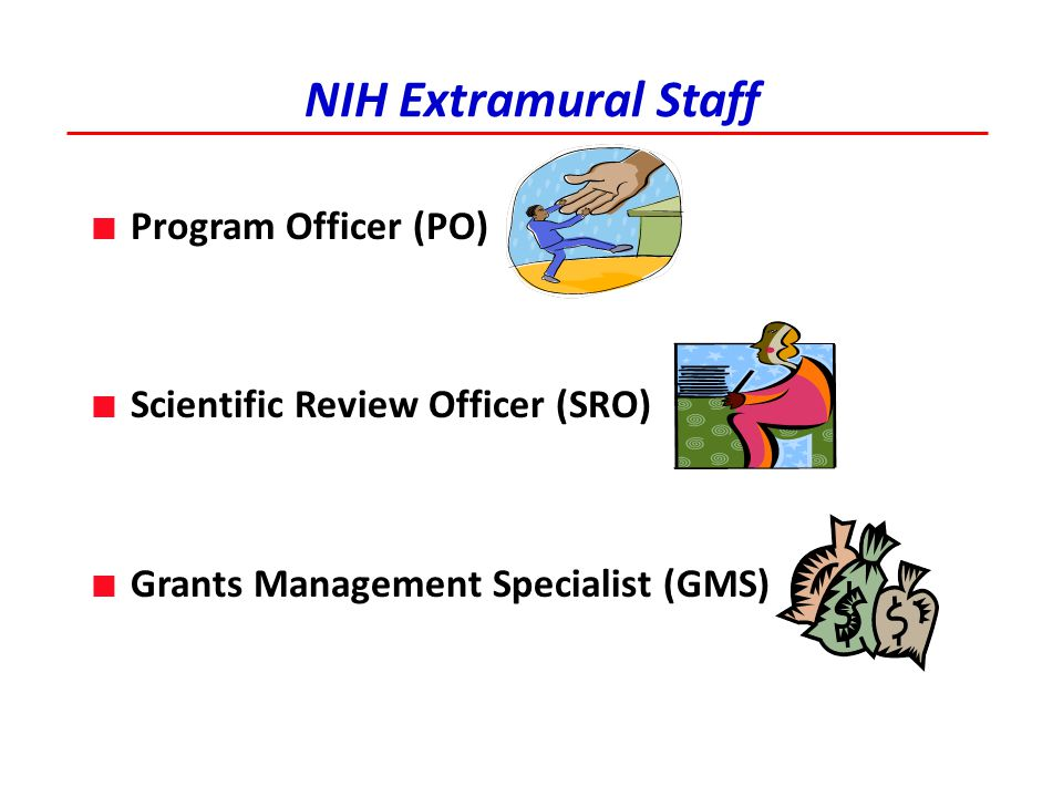 A Little Help From Your Friends ■ NIH extramural staff: ■ SRO – advice about appropriate study sections; submission requirements ■ PO - advice about research focus (before review), appropriate study sections, discussion of review results and applicant responses ■ Colleagues: read your application, well in advance of the application due date ■ GRIP: Grant Review for Immunologists Program ■ Matches new PIs with established PIs in same area ■ Obtain expert advice on grant application http://www.aai.org/Education/GRIP/index.html