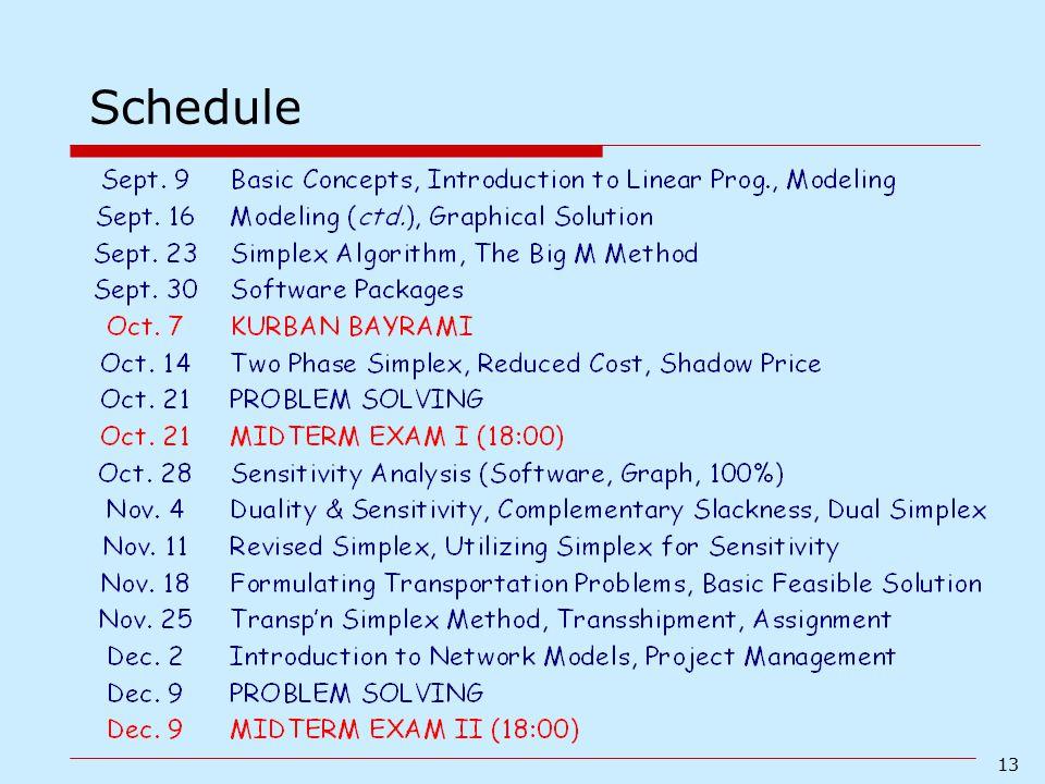 13 Schedule