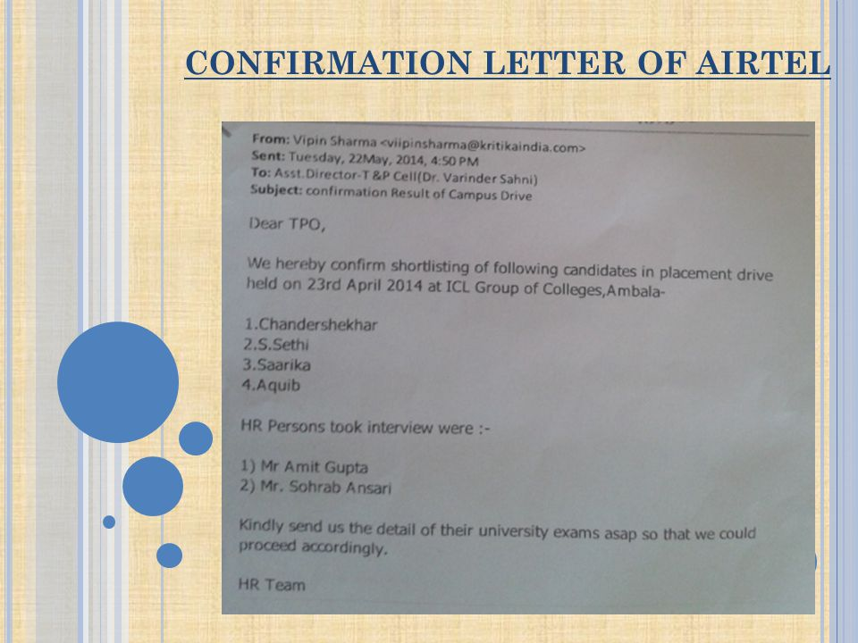 CONFIRMATION LETTER OF AIRTEL