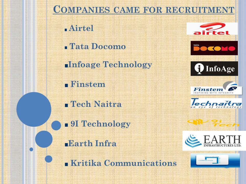 C OMPANIES CAME FOR RECRUITMENT Airtel Tata Docomo Infoage Technology Finstem Tech Naitra 9I Technology Earth Infra Kritika Communications