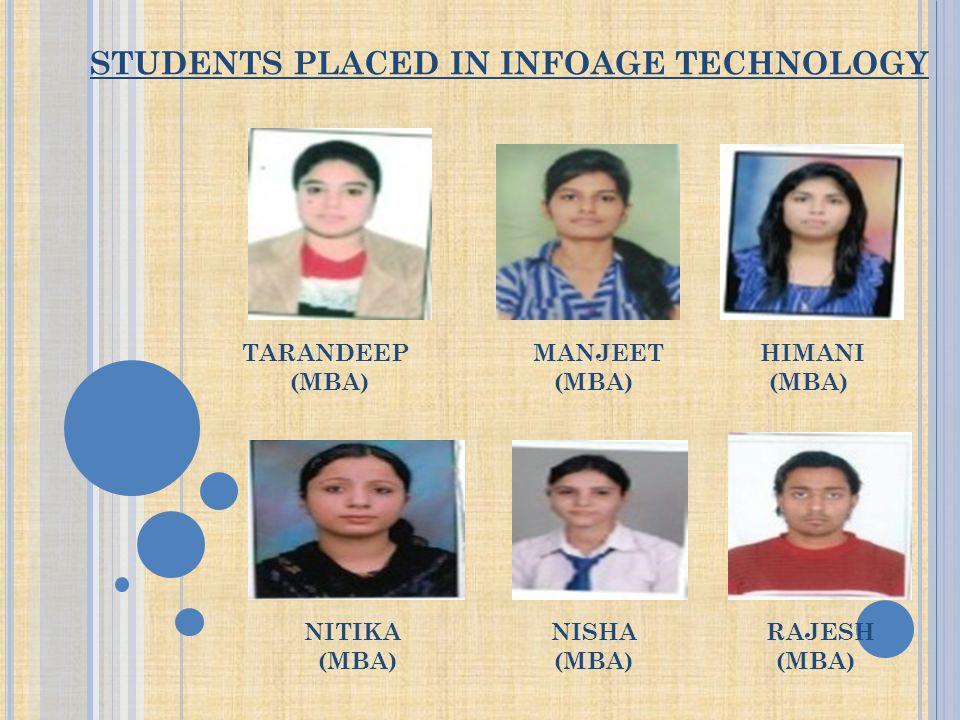 STUDENTS PLACED IN INFOAGE TECHNOLOGY TARANDEEP MANJEET HIMANI (MBA) (MBA) (MBA) NITIKA NISHA RAJESH (MBA) (MBA) (MBA)