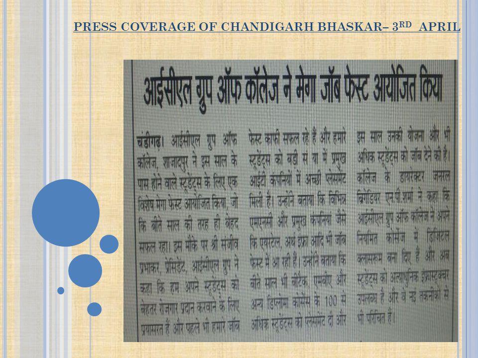 PRESS COVERAGE OF CHANDIGARH BHASKAR– 3 RD APRIL