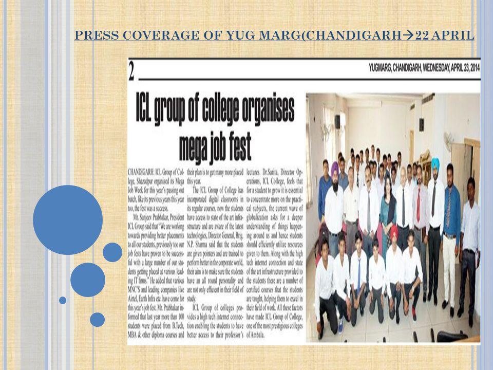 PRESS COVERAGE OF YUG MARG(CHANDIGARH  22 APRIL