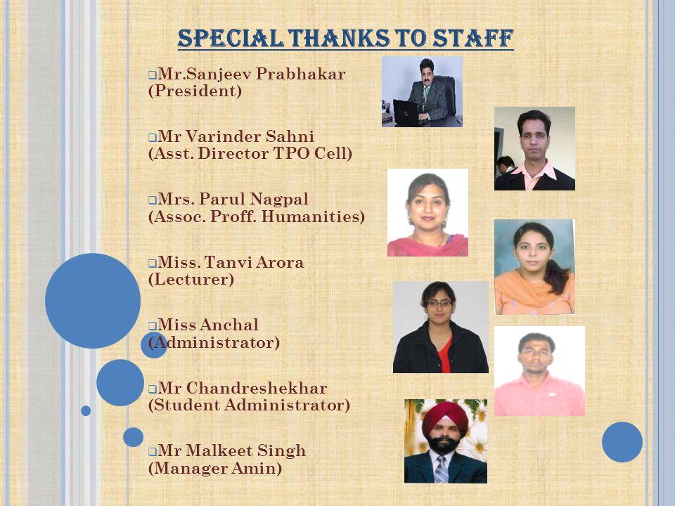 SPECIAL THANKS TO STAFF  Mr.Sanjeev Prabhakar (President)  Mr Varinder Sahni (Asst. Director TPO Cell)  Mrs. Parul Nagpal (Assoc. Proff. Humanities