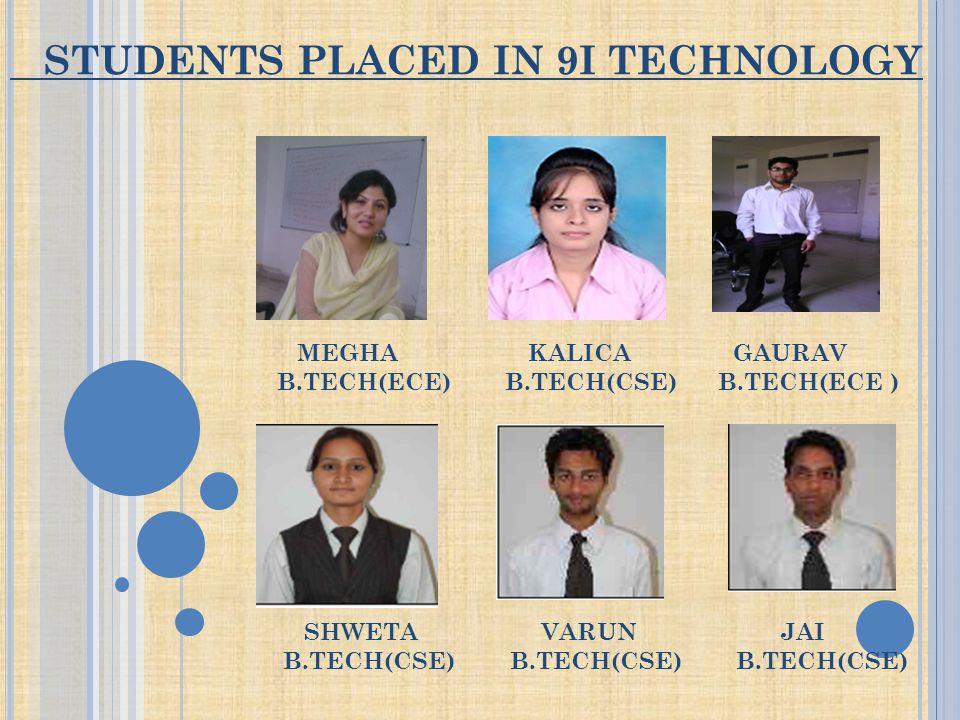 STUDENTS PLACED IN 9I TECHNOLOGY MEGHA KALICA GAURAV B.TECH(ECE) B.TECH(CSE) B.TECH(ECE ) SHWETA VARUN JAI B.TECH(CSE) B.TECH(CSE) B.TECH(CSE)