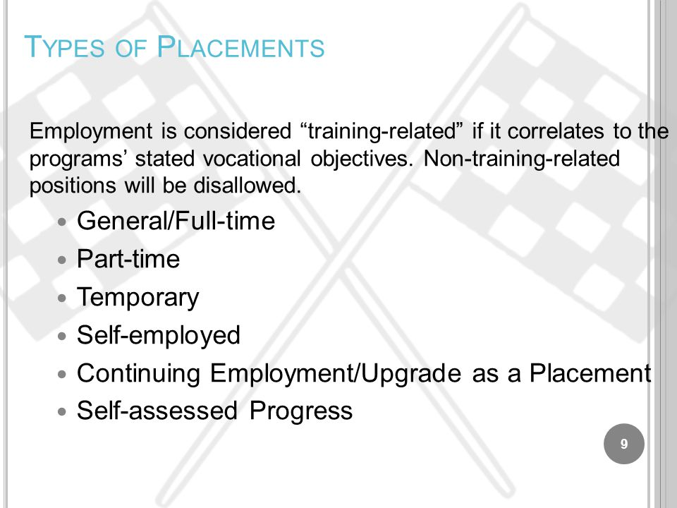 T YPES OF P LACEMENTS Employment is considered training-related if it correlates to the programs' stated vocational objectives.