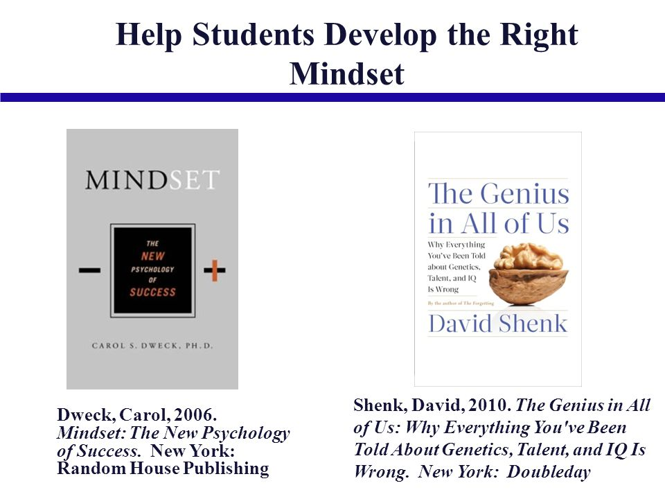 Dweck, Carol, 2006. Mindset: The New Psychology of Success.