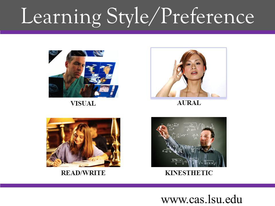 Learning Style/Preference VISUAL AURAL READ/WRITEKINESTHETIC www.cas.lsu.edu
