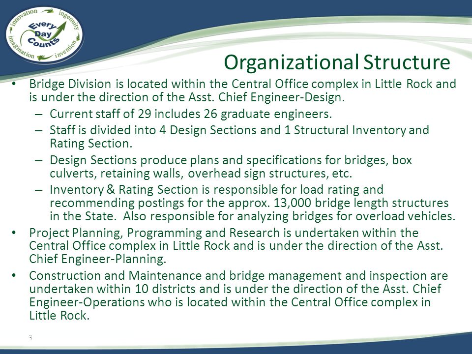 3 Bridge Division is located within the Central Office complex in Little Rock and is under the direction of the Asst. Chief Engineer-Design. – Current