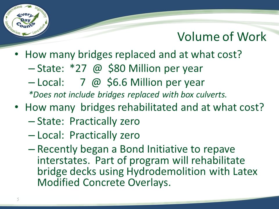 5 How many bridges replaced and at what cost? – State: *27 @ $80 Million per year – Local: 7 @ $6.6 Million per year *Does not include bridges replace
