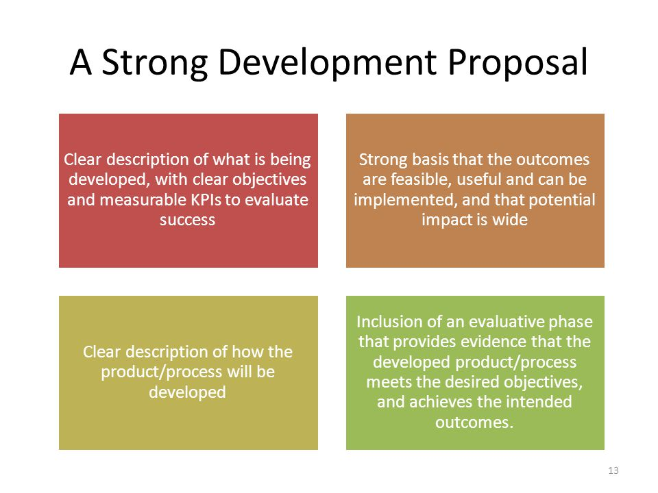 A Strong Development Proposal Clear description of what is being developed, with clear objectives and measurable KPIs to evaluate success Strong basis that the outcomes are feasible, useful and can be implemented, and that potential impact is wide Clear description of how the product/process will be developed Inclusion of an evaluative phase that provides evidence that the developed product/process meets the desired objectives, and achieves the intended outcomes.