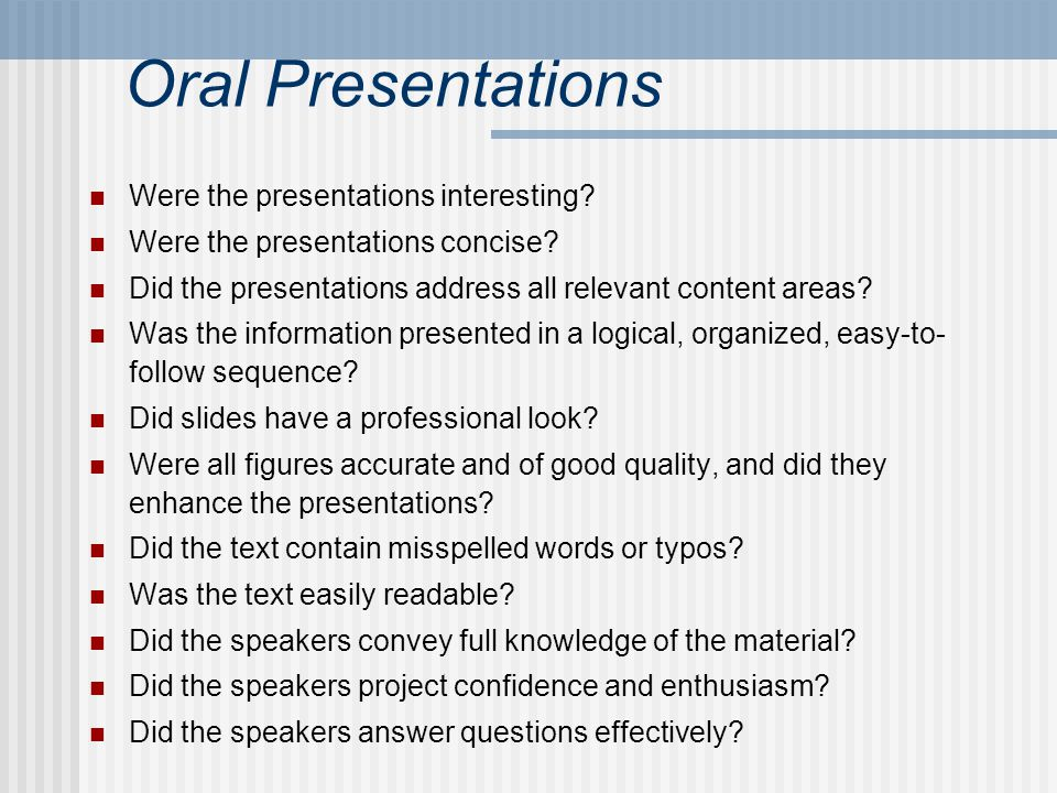 Oral Presentations Were the presentations interesting.